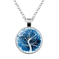 Wholesale Cabochon Resin Tree - JLN Life Tree Time Gems Cabochon Glass Dome Alloy Pendant Necklace Gift For Man Woman