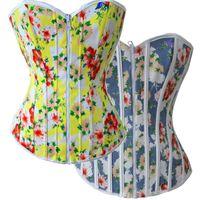 Wholesale Two Color Corset - 2015 New Style Women's Multi Colors Floral Printed Zipper Two Wear Reversible Slim Fit Corset Waist Coat S-XXL