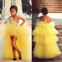 olá lo vestidos de desfile frisado venda por atacado-2018 árabe meninas amarelas pageant vestidos de alta baixo doce apliques frisado longo flor menina vestidos princesa vestido de comunhão bo9182