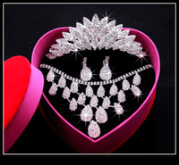 Wholesale Wedding Jewery - Hot! 19.99!! 2015 Luxury Crystal Bride Wedding Jewery With Necklace Earring Crowns To Wedding Party Evening Bridal Accessory Free Shipping
