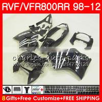 Wholesale Vfr Interceptor - glossy black VFR800 For HONDA Interceptor VFR800RR 98 99 00 01 02 03 04 12 90NO57 VFR 800 RR 1998 1999 2000 2001 2002 2003 2004 2012 Fairing