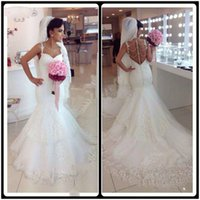 Wholesale Crystal Wedding Gown Online - Vestido De Noiva 2016 Long Mermaid Wedding Dresses Beaded Open Back Lace Sleeveless Bridal Gowns Plus Size Custom Online Sexy Wedding Dress