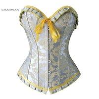 ingrosso corsetti gialli bustiers-Corsetto sexy overbust donna Jacquard Ruffles floreale argento e giallo Corsetti e bustini Corsetto shapewear