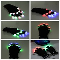 Wholesale Gloves Diy - NEW 7 Modes color changing flashing LED glove for KTV Party Finger Flashing Glow lamp Christmas gifts Night light