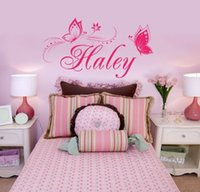 Wholesale personalized butterfly stickers - Butterfly Wall Stickers Customer-made Any Name whit Personalized Vinyl Wall Decals for Bedroom Gilrs' Room Decor
