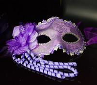tomurcuklu ipek prenses toptan satış-2015 yeni parti maskeleri Prenses maske masquerade maske Erkekler ve kadınlar ile tüyler ve çiçek tomurcuğu ipek yarım yüz tüylü maske DHL