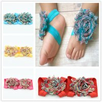 Wholesale Silk Flower Foot Band Baby - 49paris baby barefoot sandals Paisley shabby flower sandals baby girl feet flower band barefoot shoes sandals flowers