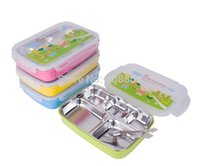 Wholesale Stainless Food Box - 304 food grade Stainless Steel Students lunch box 4 colors kids lunch tray 5 cells school lunch food container