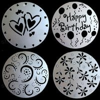 Wholesale Spray Icing Cake - Hot sale cook soap mold cake icing sugar sieve spray mold printing Baking Moulds dab mat 4 pcs set wholesale