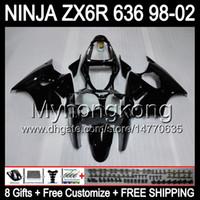 kawasaki 1998 kits de carenado zx6r al por mayor-ALL Gloss black 8Gifts + Body para KAWASAKI NINJA ZX6R 98-02 MY29 ZX636 ZX 636 ZX-6R ZX 6R 98 99 00 01 02 1998 1999 2000 2001 2002 2002 Kit de carenado