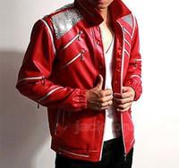 Wholesale Leather Jean Jacket Xl - Fall-Michael Jackson MJ Costume Beat It Leather Jacket Replica Free Billie Jean Glove
