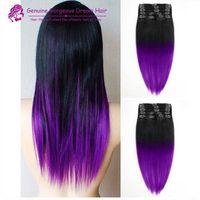 Wholesale Colorful Brazilian Hair - 2015 Fashion black to purple mermaid colorful ombre Brazilian clip in hair extensions Two ombre purple clip in hair 7pcs Set