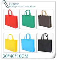 Wholesale Custom Shop Cream - 30*40*10CM 20pcs High Quality 13 kinds of Color Non-woven cusntom Shopping Bag accept custom logo Clothes Bags