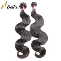Wholesale Malaysian Virgin Hair Weave 5a - Malaysian Peruvian Indian Brazilian Virgin Hair Extensions Body Wave Human Remy Hair Weaves Natural Color Unprocessed 5A 2pcs lot Bellahair