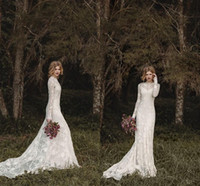 Wholesale Elegant Full Lace - Elegant Lace Bohemian Long Sleeve Wedding Dresses 2016 Sheer Neck Full Back Floor-length A-line Country Bridal Dresses Cheap Gown