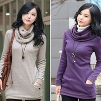 Wholesale Womens Purple Scarves - 2015 NEW WOMEN'S SHIRT SWEATERSHIRTS SEXY SHIRT STUNNING WOMENS SWEATER DRAPE NECK TUNIC LONG SLEEVE SCARF FLEECES 4 COLOR FREE SHIPPING