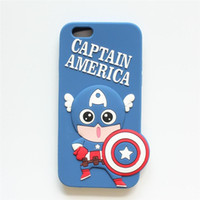 Wholesale Green Protective Covers - Cute Cartoon Silicone Case For iPhone 5 6 6plus The Avengers Case Cover For Mobile Phone Protective Shell