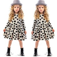Wholesale Tutu Boutique Wholesale - European girls bottoming dresses 2016 new baby cotton stretch black cat pattern dress christmas children boutique clothing