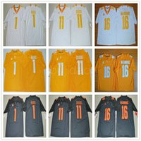 Tennessee Volunteers 16 Maillot Peyton Manning Tous Cousu Orange Noir Blanc Bon marché 11 Joshua Dobbs 1 Jalen Hurd College Football Maillots