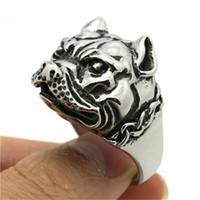 Wholesale 2pcs Fast Shipping New Design Dog Ring L Stainless Steel Fashion Jewelry Cool Biker Hot Band Party Animal Dog Ring