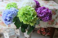 fleurs en soie de bonne qualité achat en gros de-Soie hydrangea fleur boule decorateive fleur réel tactile fleurs artificielles de bonne qualité pour la décoration de marché de jardin de mariage livraison gratuite