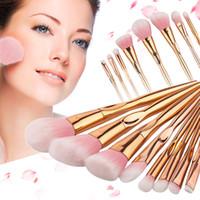 Wholesale rose gold handles resale online - Gujhui Brand Rose Gold Handle Makeup Brushes Set For Eyeshadow Contour Powder Soft Make Up Brush Cosmetic Tool
