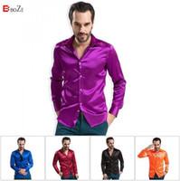Wholesale Silk Mens Long Shirt - Wholesale-Famous Brand Men Shirts 2015 High grade Silk Mens Long Sleeved Male Fashion Casual Silky Plus XXXXL Size Men Shirt