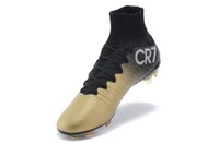Wholesale Cheapest Black Ankle Boots - 2015 high Quality Superfly FG CR7 High Ankle Soccer Shoes Cheapest Soccer Boots Cristiano Ronaldo Cleats Ronaldo Gold Black Footbal Shoe