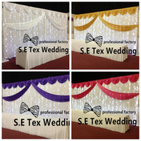 Wholesale Led Wedding Backdrop - 3m*6m White Color Wedding Backdrop Curtain \ Stage Background Include Top Swag With String Led Lights Free Shipping