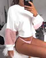 Wholesale Women S Exaggerated - 2017102939 Fuzzy Fabric Detail Exaggerate Sleeve Color Block Pullover Women Long Sleeve Top 2017 Casual Sweatshirt