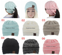 Wholesale Crochet Hats For Girls - INS Fashion Children CC Pony Beanie Caps For 3 to 12Years Old Winter Outdoor Warm Ponytail Hats Kids Girl Knitted Crochet Skull Beanies
