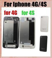 передняя крышка для iphone 4s оптовых-полный корпус для iphone 4 г 4S задняя крышка батарейного отсека крышка запасная часть оригинальный клон работа с передним ЖК-дисплеем SNP001