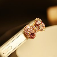 Wholesale Bow Anti Dust Earphone - 5piece lot Crystal Bow Anti Dust 3.5mm Earphone Jack Plug Stopper for Phones With pp b