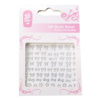 Wholesale Diy Bling Stickers - 1 Sheet Christmas Silver Bling Bows Stickers 3D Nail Art Sticker Decals Tips DIY Beauty Tools 2015 New
