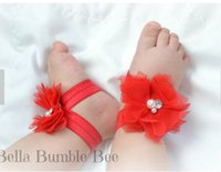 Wholesale Barefoot Sandals For Boys - Wholesale-New Baby Barefoot Sandal Flower Shoes with Flower Headband for Girl Foot Ties Newborn Toddler Flower Shoes 3set lot