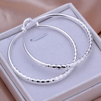 Wholesale Dangling Hoop - Brand new sterling silver Circular section diamond earrings DFMSE291,women's 925 silver Dangle Chandelier earrings 10 pairs a lot factory