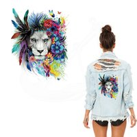 Wholesale Indian Clothes Wholesale - Hot American Indian style Flowers Lions Iron on Patches For Clothing DIY T-shirt jacket hoodie Grade-A Thermal transfer stickers
