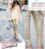 Wholesale Black Sequin Leggings L - new!Fashion Feminina Autumn Punk Bling Sequin Trousers,Shining Gold Black Silver Spangle Sequin Formal Pants Women leggings free shippin