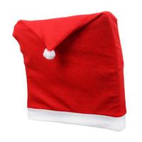 restoran kapak koltuğu toptan satış-Noel Sandalye Kapak Santa Clause Kırmızı Şapka Restoran Koltuk Yemek Sandalyesi Kapakları Arka Kap Masa Dekor Xmas Süslemeleri
