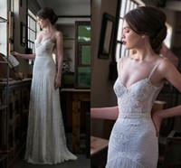 Wholesale Long Sheath Beaded Slit Dress - Gali karten Garden Civil Wedding Dresses 2018 Couture Spaghetti Lace Beaded Elegant Full length Sheath Vintage 1920s Bridal Dress