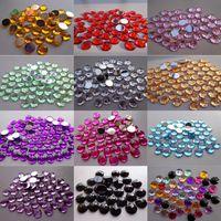 Wholesale Acrylic Flat Back Rhinestones 8mm - Hot ! 500pcs Chamfer Faceted Acrylic 8mm Flat Back Rhinestone Craft Bead 12 Color