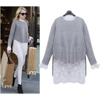 Wholesale two piece knit dresses spring - Wholesale- QA! 2016 Spring Autumn Women New knitted Light Grey Mink Cashmere Sweater+Long Sleeve Casual Loose Lace Dress Two Pieces Set
