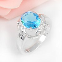 Wholesale Silver Oval Settings - 6 PCS LOT Valentine Oval Sky Blue Topaz Gemstone 925 Sterling Silver Plated Weddiing Ring