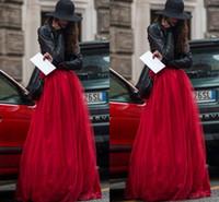kadınlar için kırmızı tutus toptan satış-2015 Yeni Varış Kırmızı Tül Etek Katmanlı Temp Kabarık Uzun Kadın Etek Peri Yetişkin Tutu Bir Çizgi Artı Boyutu Kadınlar için Vintage Etekler