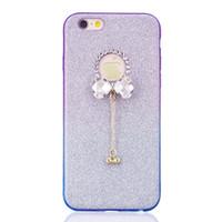 estuches para iphone diamond bow al por mayor-Diamond Bow Bling Glitter Sparkle TPU Funda suave para iPhone X 8 I7 I8 7 6 6S Plus 5 5S SE Moda Dual Color Pendant Shiny Phone Cover 1pcs