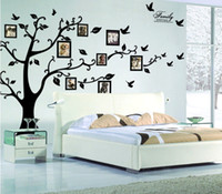 Wholesale tree decals for living room - Retail 1800*4500mm Large Size Black Family Photo Frames Tree Wall Stickers DIY Home Decoration Wall Decals Modern Art Murals for Living Room