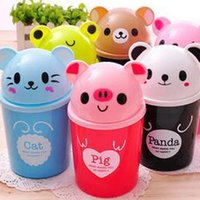 Wholesale Wholesale Mini Garbage Cans - Cartoon Animal Plastic mini Table Dustbin Sundries Barrel  Lovely Storage Tank Cartoon animal Desktop trash can ash-bin garbage