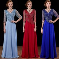 Wholesale Embroideried Sequin - real photos high quality half sleeves evening dresses 2018 A-line heavily embroideried beading v neckline mother of the bride dresses