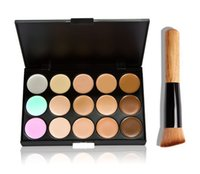 Wholesale Camouflage Halloween Makeup - Professional Cosmetic Salon Party 15 Colors Camouflage Palette Face Cream Makeup Concealer Palette Make up Set Tools With Brush