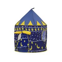 château jouet bleu achat en gros de-Nouvelle Vente Chaude Enfants Bébé Tentes D'anniversaire Cadeau Princesse Palace Château Jeu Maison Jouets Bleu Rose DHL Livraison Gratuite